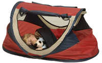 NSA Large Deluxe Pop Up Travel Cot Red